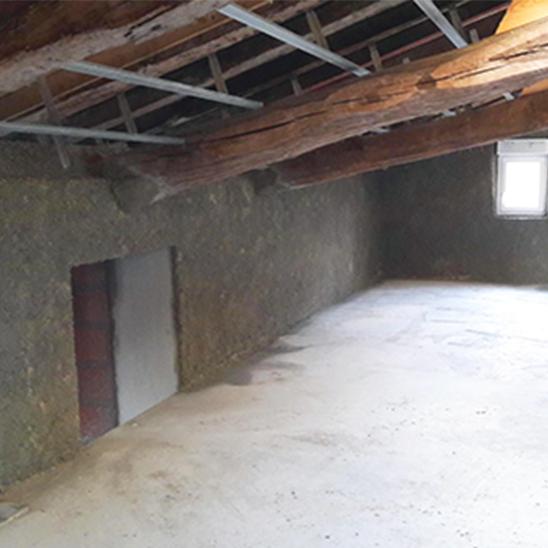 Rénovation – Après projection par l'intérieur du béton de chanvre – DévelGreen